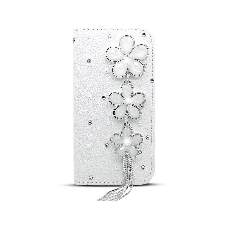 iPhone 6 - Étui Portefeuille CB avec Broche Fleurs & Strass