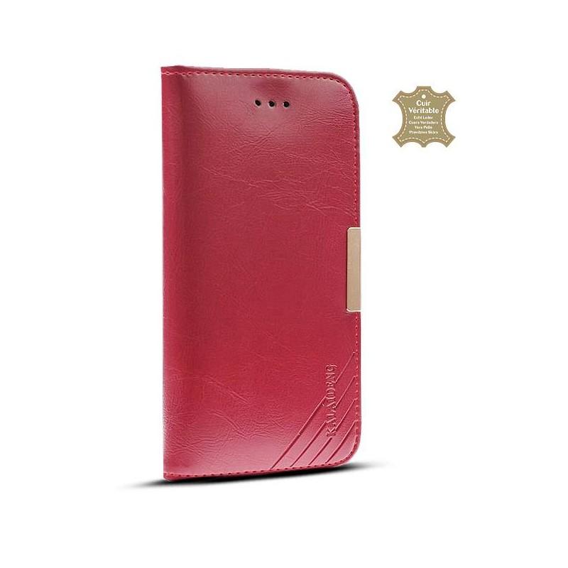 iPhone 6 Plus & 6S Plus - Étui Portefeuille en Cuir Véritable Kalaideng Royal - Pochettes CB - Rouge