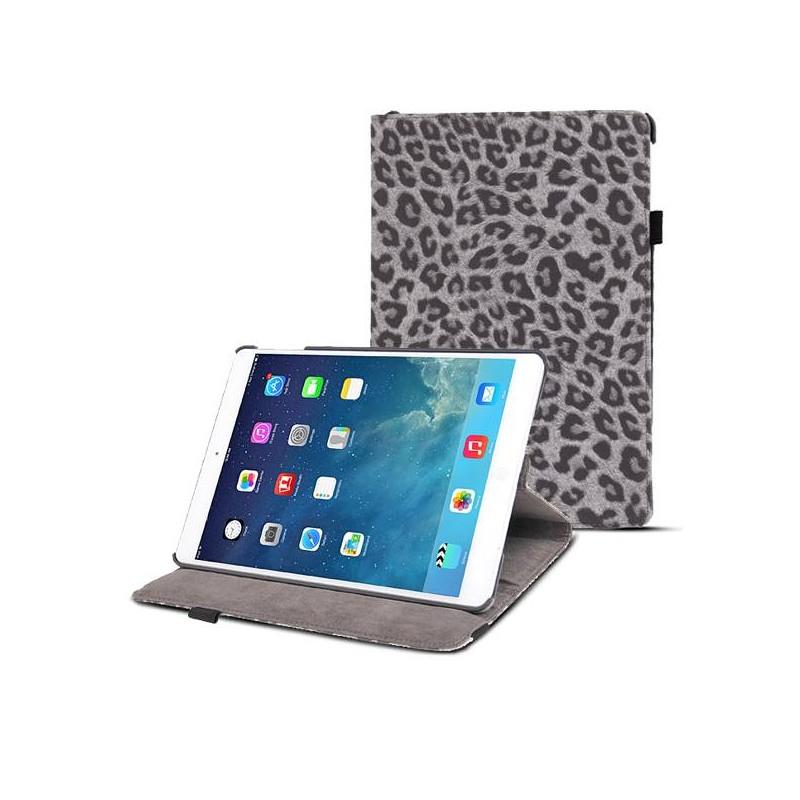 iPad Air 2 - Étui Rotatif Inclinable Motif Léopard - Gris