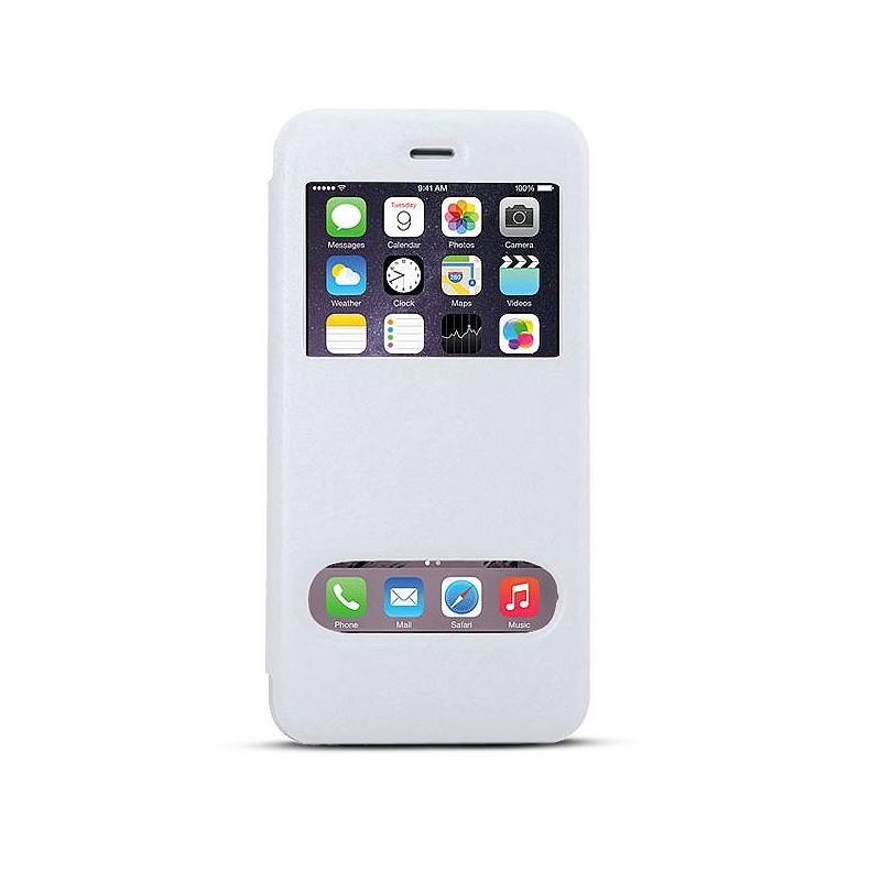 iPhone 6 Plus & 6S Plus - Etui Double Fenêtre d'Appel - Blanc