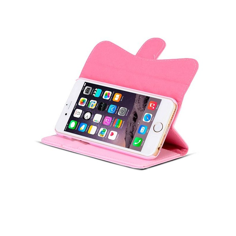 iPhone 6 - Étui Portefeuille Chic Capiton & Strass - Pochettes CB - Rose