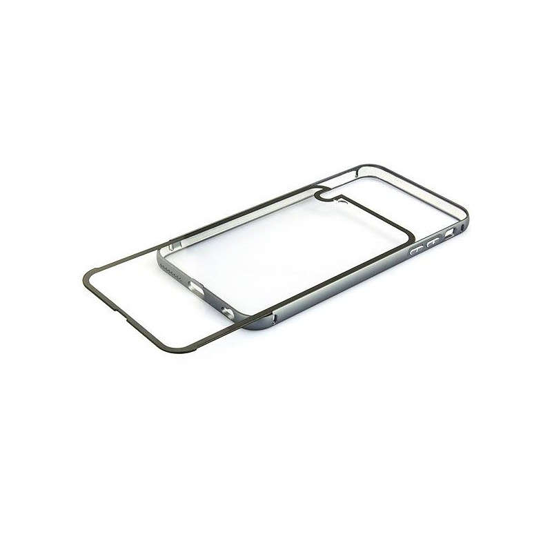 iPhone 6 Plus - Coque Bumper Métal Transparent & Gris