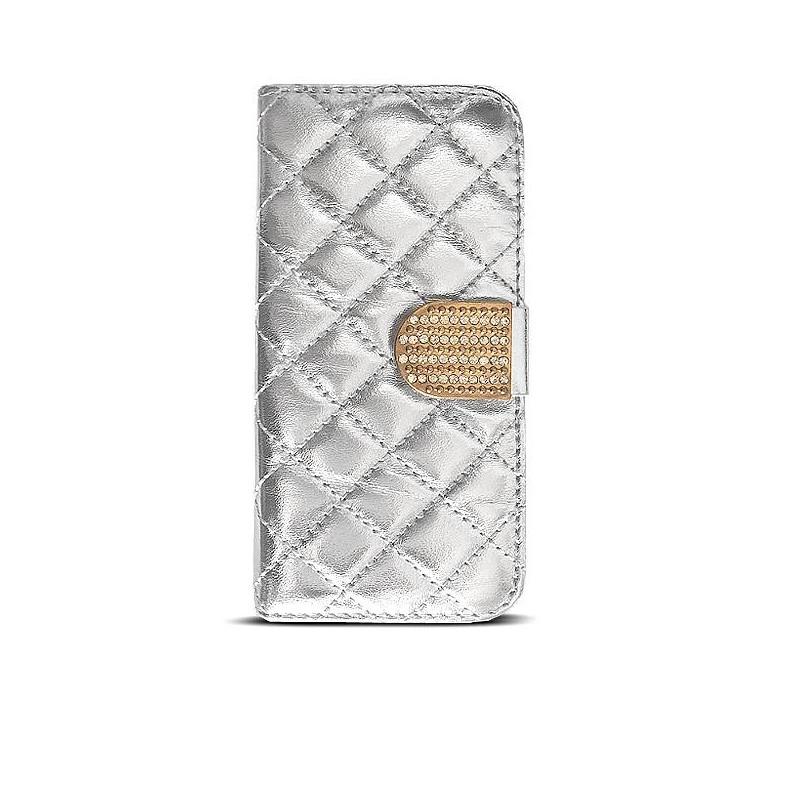iPhone 6 - Étui Portefeuille Capiton & Strass - Argenté