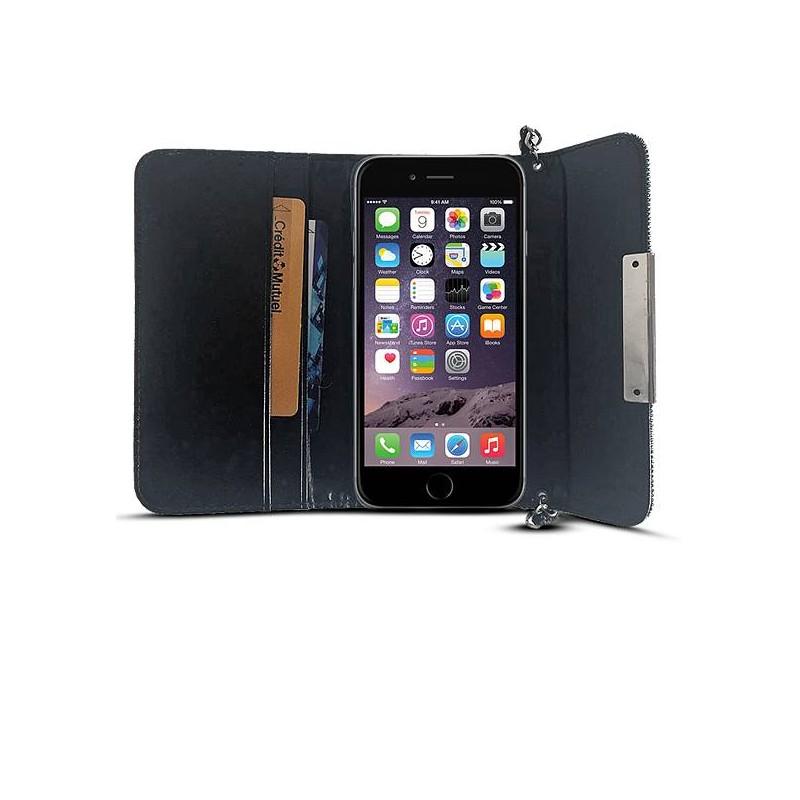 iPhone 6 - Étui Portefeuille Façon Sac à Main Chic & Strass - Noir