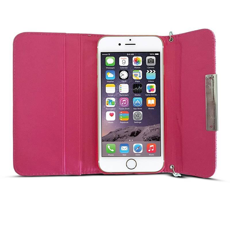 iPhone 6 - Étui Portefeuille Façon Sac à Main Chic & Strass - Fuchsia