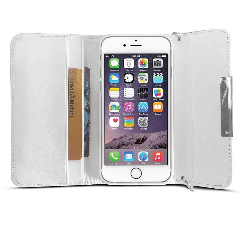iPhone 6 - Étui Portefeuille Façon Sac à Main Chic & Strass - Blanc