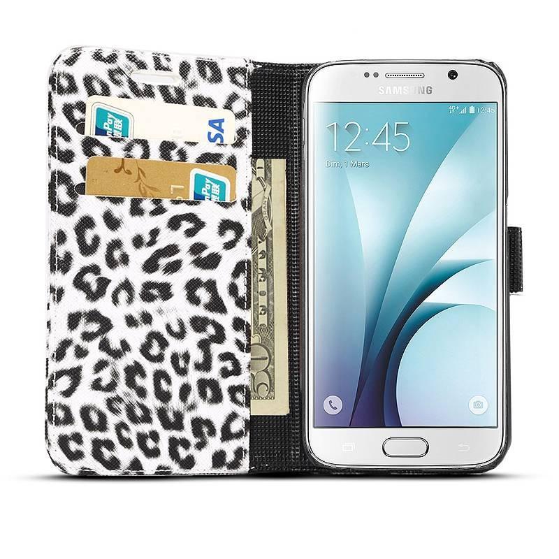 """Galaxy S6 - Étui Portefeuille Inclinable Motif """"Léopard"""" - Pochettes CB - Blanc"""