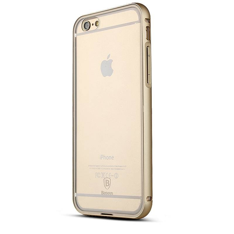 "iPhone 6 Plus - Bumper Aluminium Baseus ""Crystal Series"" avec Protection Arrière Transparent - Gold Champagne"