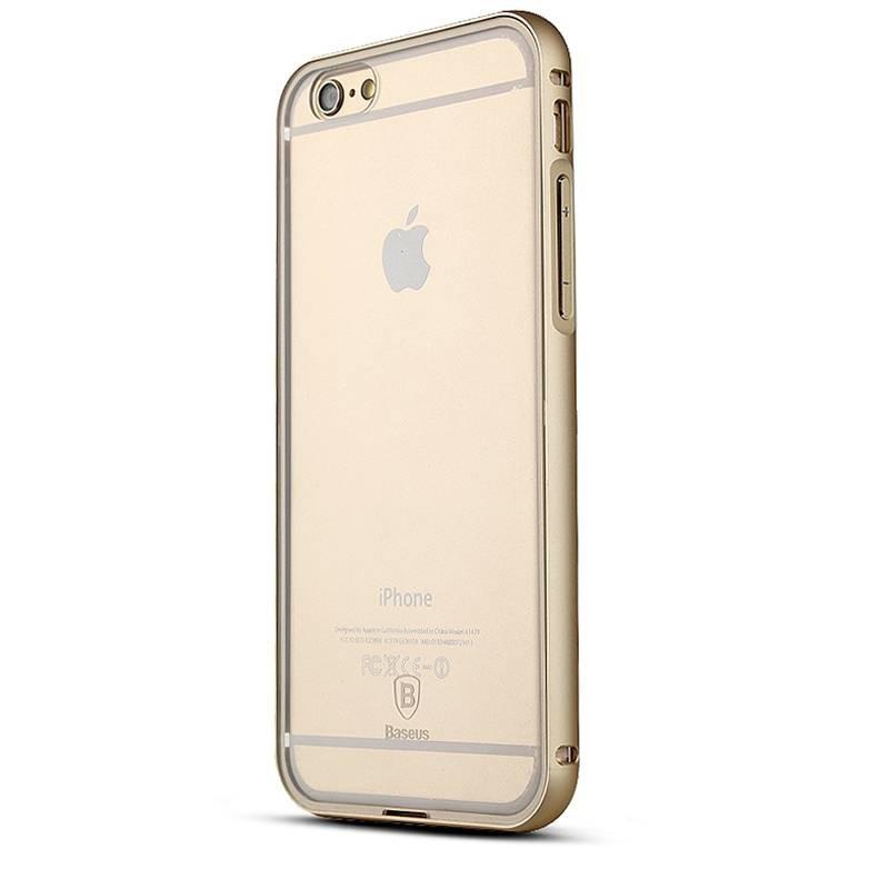 """iPhone 6 Plus - Bumper Aluminium Baseus """"Crystal Series"""" avec Protection Arrière Transparent - Gold Champagne"""