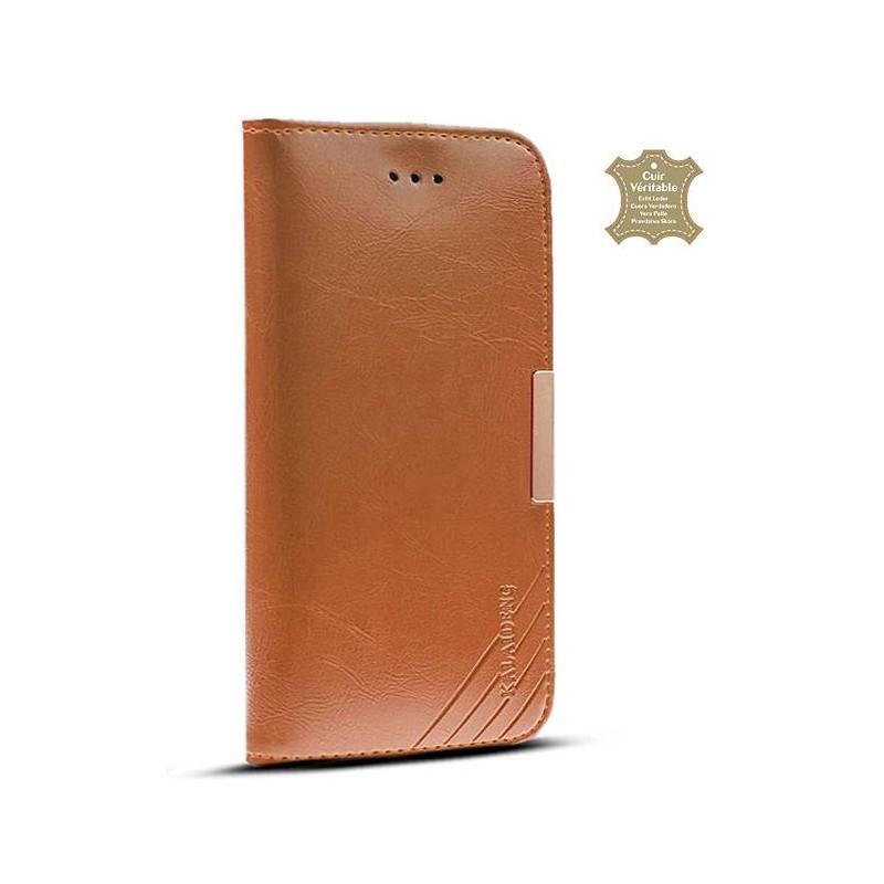 HTC One M9 - Étui Portefeuille en Cuir Véritable Kalaideng Royale - Pochettes CB - Cognac