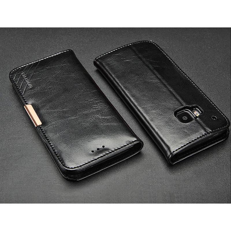 HTC One M9 - Étui Portefeuille en Cuir Véritable Kalaideng Royale - Pochettes CB - Noir