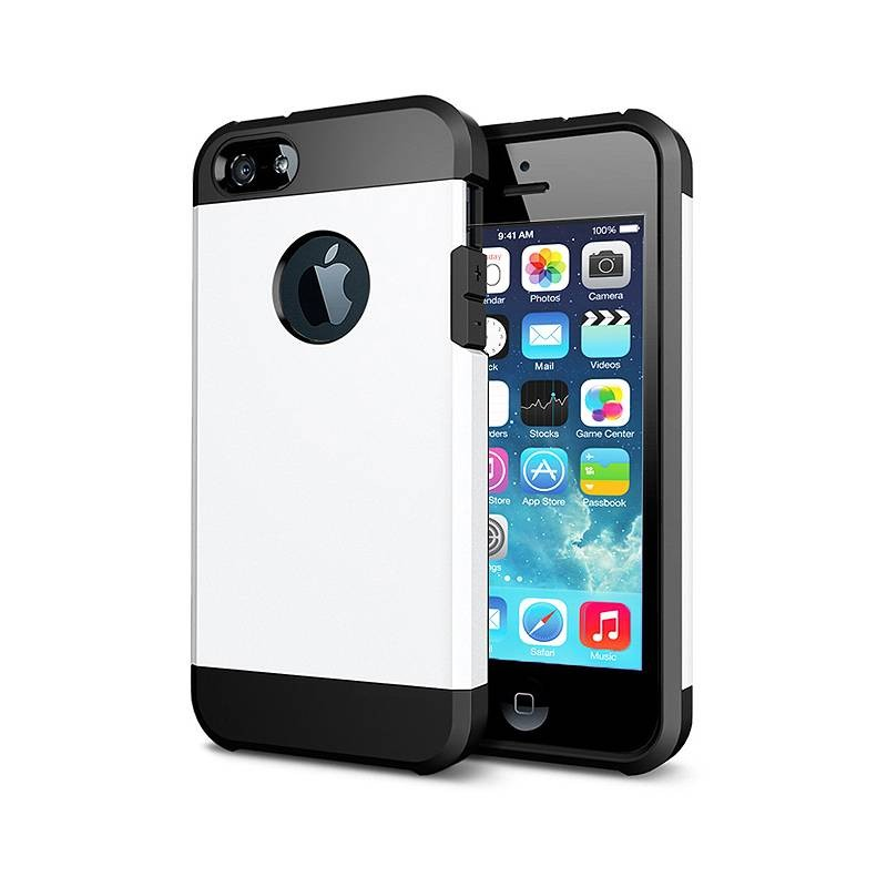iPhone 5 & 5S - Coque Armor Double Protection - Blanc