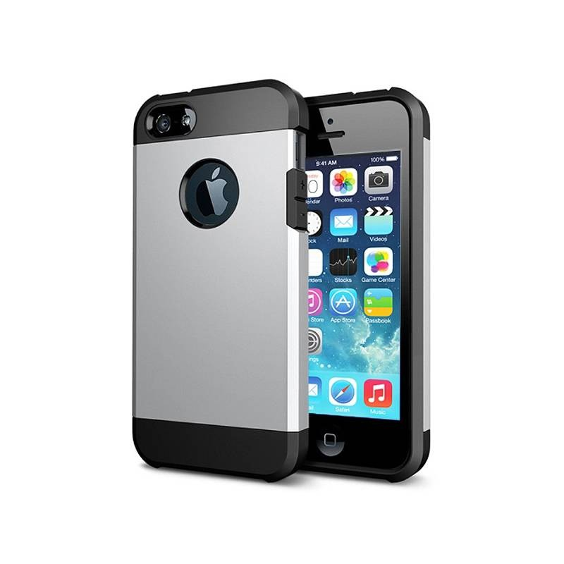 iPhone 5 & 5S - Coque Armor Double Protection - Silver