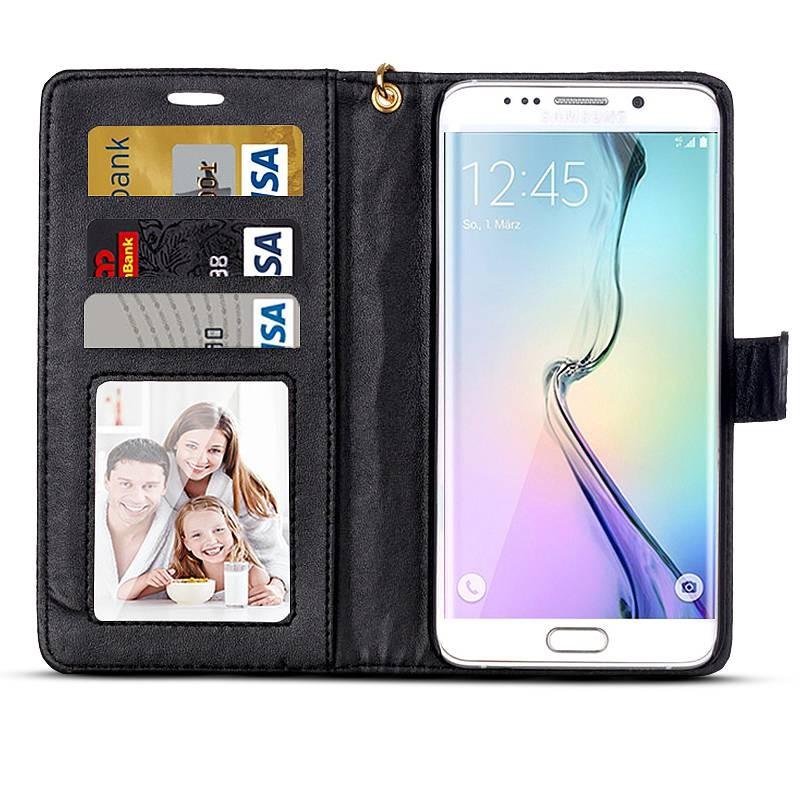 Galaxy S6 Edge Plus - Étui Portefeuille CB Imitation Crocodile - Noir vernis