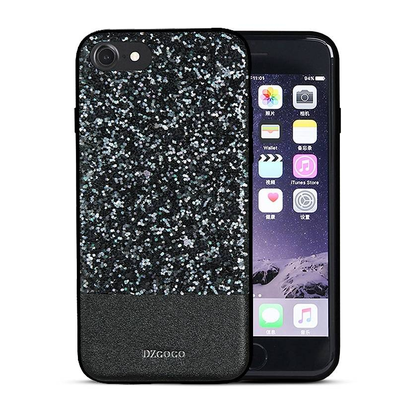 "iPhone 7 & 8 - Coque DZgogo ""Bling Series"" - Revêtement à Paillettes"