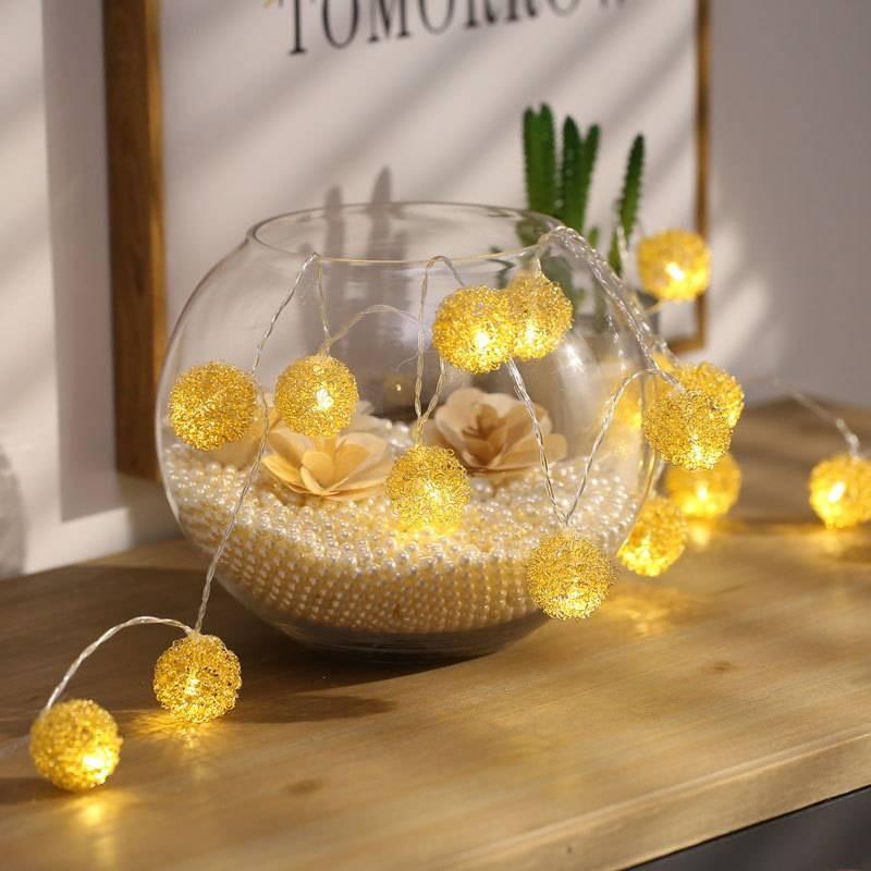 Guirlande Lumineuse Boules de Fil Doré - 20 Leds - 3 mètres - Connexion USB