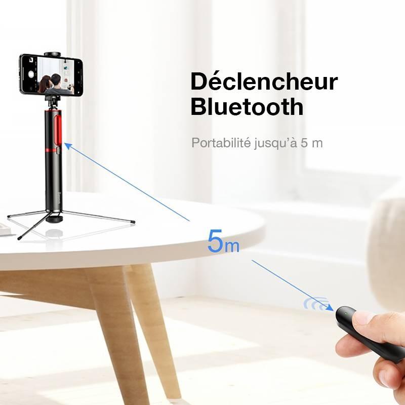 Perche BASEUS D1S - Perche Selfie & Trépied Télescopiques 2-en-1 - Déclencheur Bluetooth Détachable - Support Pivotable 360°