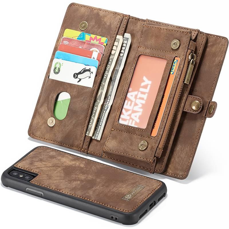 iPhone XS Max - Étui Portefeuille CaseMe avec Coque Détachable - 11 Pochettes CB + 3 Pochettes Monnaie + 1  Poche Zip