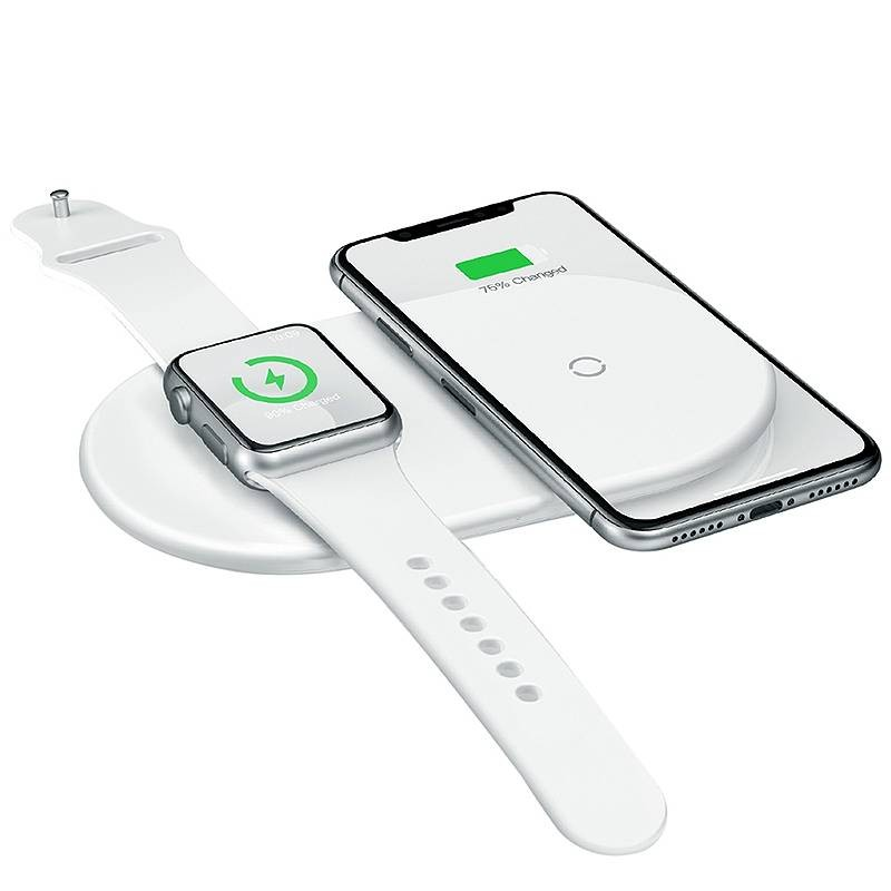 Double Chargeur Qi BASEUS 2-en-1 pour Smartphone Android/iPhone & Apple Watch - Charge rapide 5/7,5/10W