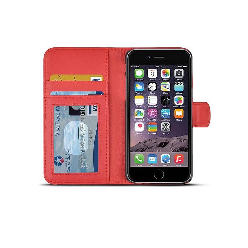 iPhone 6 - Étui Portefeuille Imitation Serpent - Rouge
