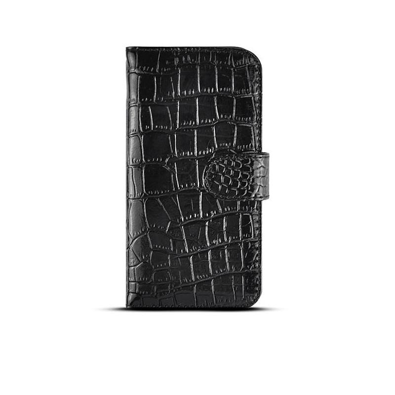 iPhone 6 - Étui Portefeuille CB Imitation Crocodile - Noir vernis