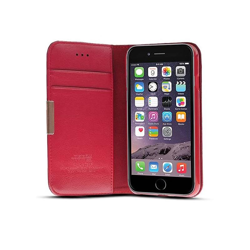 iPhone 6 Plus - Étui Portefeuille en Cuir Véritable Kalaideng Royal - Pochettes CB - Rouge