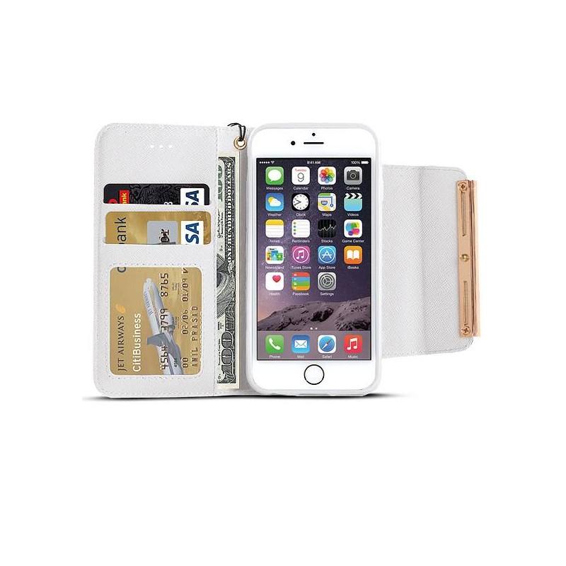 """iPhone 6 - Étui Portefeuille """"Chic & Strass"""" - Blanc"""