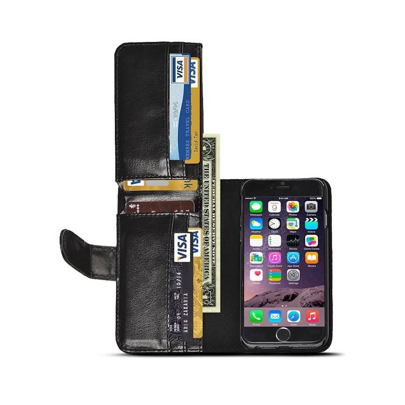 iPhone 6 Plus - Étui Portefeuille 9 Poches Intérieures - Noir