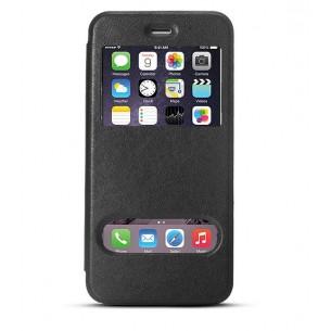 iPhone 6 Plus - Etui Double Fenêtre d'Appel - Noir