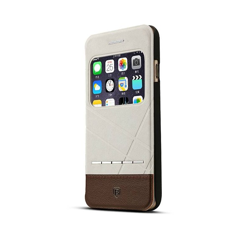 iPhone 6 Plus & 6S Plus - Etui Inclinable Baseus Bicolore avec Fenêtre d'Appel - Sable & Brun