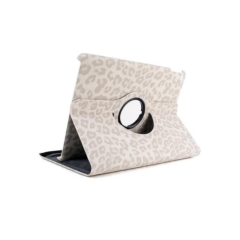 iPad Air 2 - Étui Rotatif Inclinable Motif Léopard - Blanc