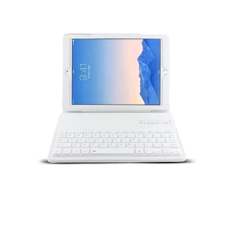 iPad Air 2 - Étui Clavier Bluetooth Détachable avec Touches Clavier Blanches - Blanc