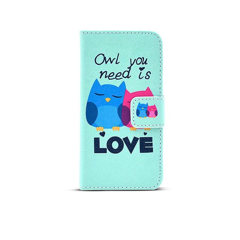 """iPhone 6 & 6S - Etui Inclinable CB avec Motif """"Owl You Need is Love"""""""
