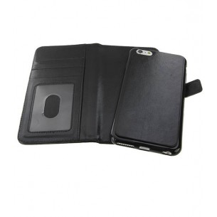 iPhone 6 Plus - Étui Portefeuille + Coque Détachable 2 en 1 - Pochettes CB - Noir