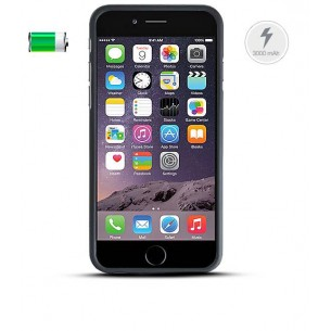 iPhone 6 - Coque Batterie Power Bank 3000 mAh - Câble Lightning / USB Intégré - Noir