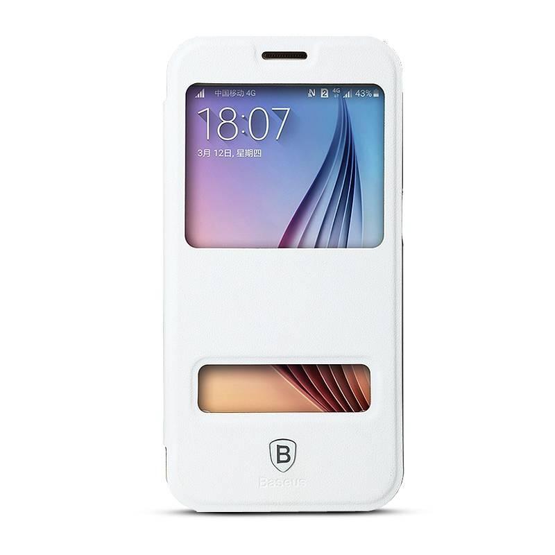 Galaxy S6 - Etui Baseus Primary avec Double Fenêtre d'Appel - Blanc