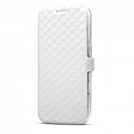 Galaxy S6 - Etui CB Inclinable avec Motifs Brocart - Blanc