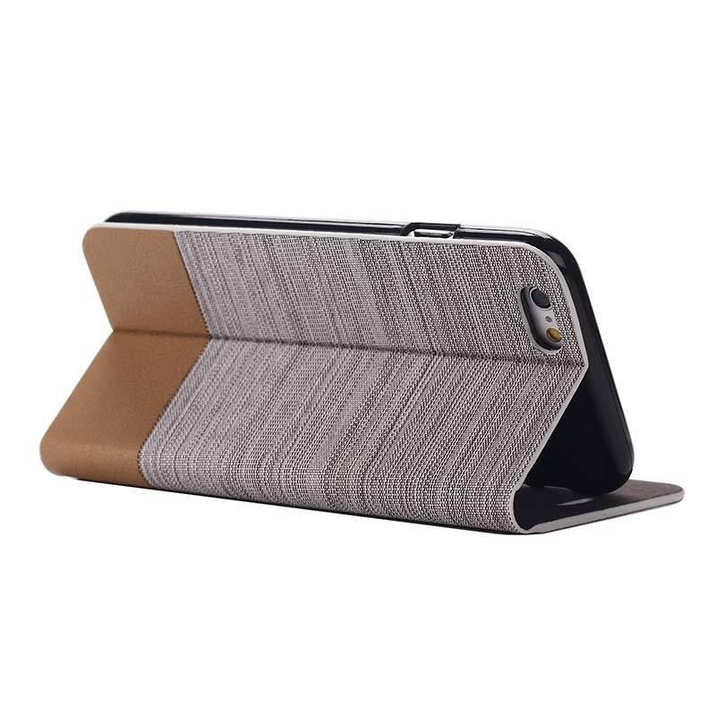 iPhone 6 & 6S - Étui Portefeuille CB Double Matière Toile & Simili - Beige