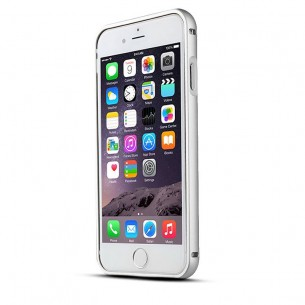"iPhone 6 - Bumper Aluminium Baseus ""Crystal Series"" avec Protection Arrière Transparent - Silver"