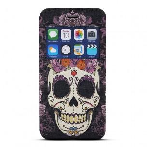 iPhone 6 - Etui Inclinable avec Fenêtre d'Appel - Motif Tête de Mort