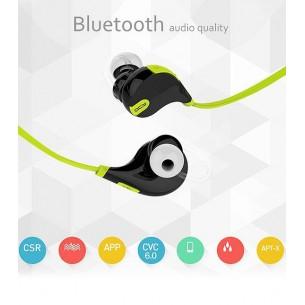 Écouteurs Bluetooth APTX QCY QY7 - Microphone et Réglage du Volume Intégrés - Blanc & Vert