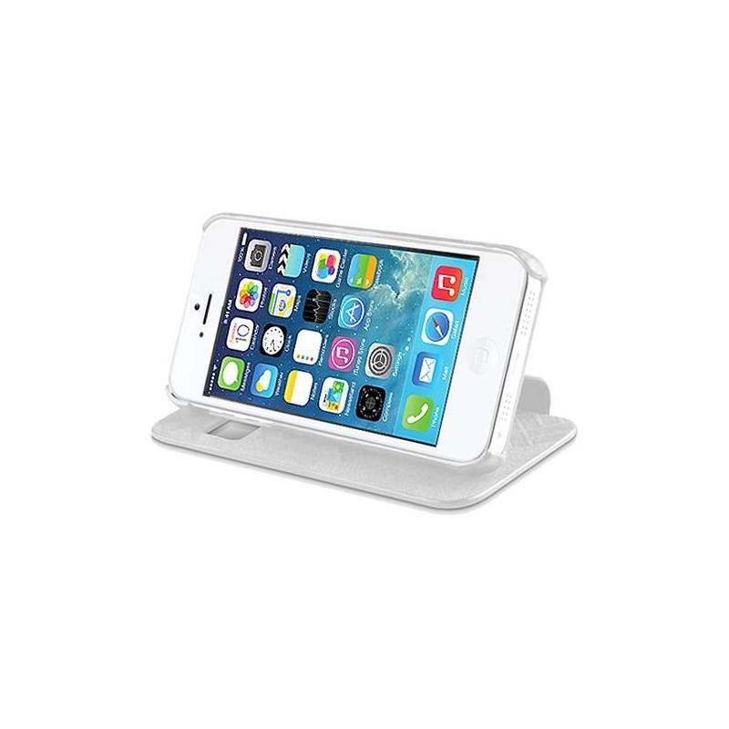 """iPhone 5 & 5S - Étui Inclinable + Film de Protection Écran ITSKINS - Modèle """"Visionary"""" - Blanc"""