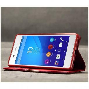 Sony Xperia Z4 - Étui Portefeuille en Cuir Véritable Kalaideng Royale - Pochettes CB - Rouge
