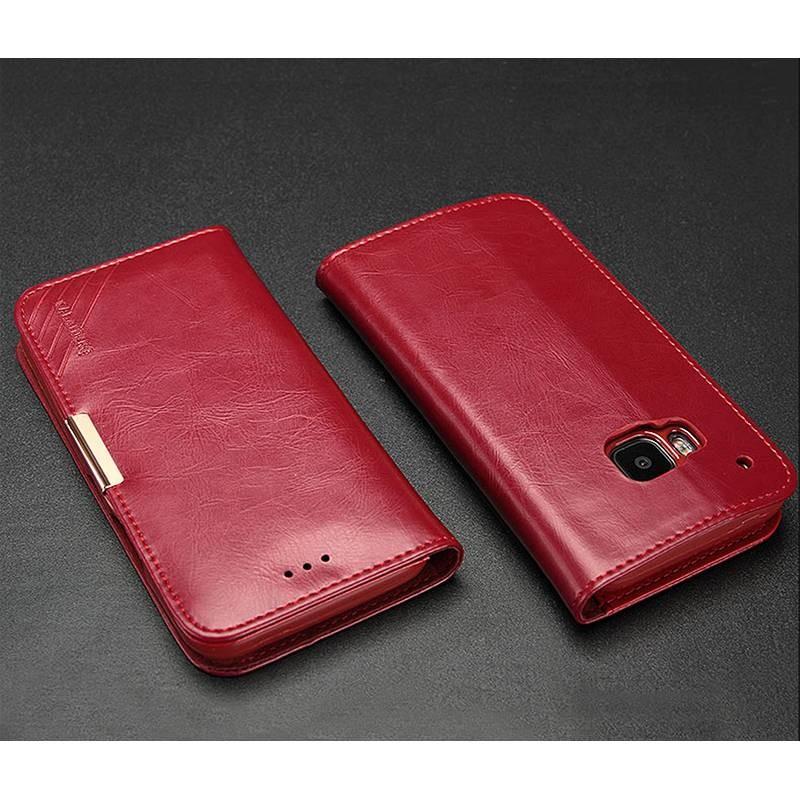 HTC One M9 - Étui Portefeuille en Cuir Véritable Kalaideng Royale - Pochettes CB - Rouge