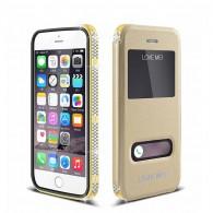 iPhone 6 - Etui LOVEMEI Star Line - Plaqué Or 24K - Double Fenêtre - Coque Magnétique Détachable - Gold