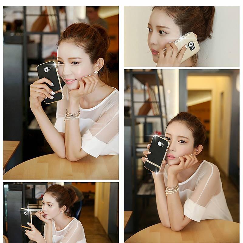 Galaxy S6 Edge+ - Étui LOVE MEI Star Line - Plaqué Or 24K - Double Fenêtre - Coque Magnétique Détachable - Gold Champagne