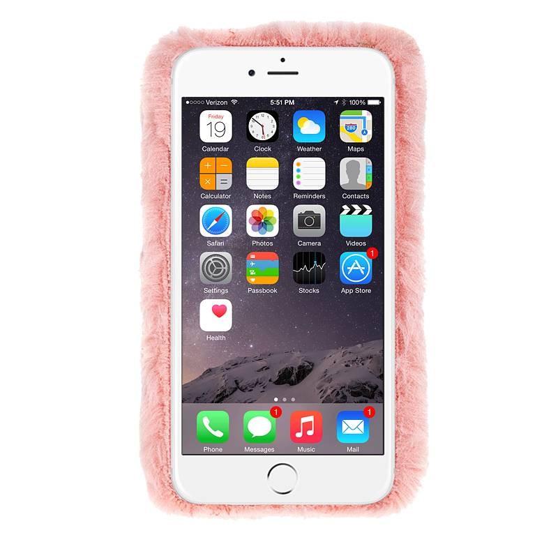 iPhone 6 & 6S - Coque Arrière en Fausse Fourrure & Strass - Rose