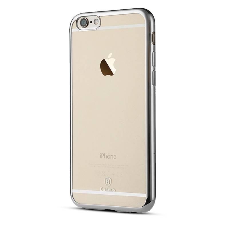 """iPhone 6 & 6S - Coque Bumper Baseus """"Shining Case"""" - Fond Transparent Bordure Chromée"""