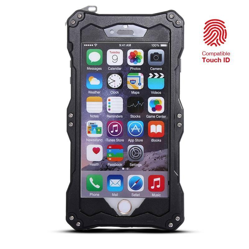 IPhone 6 & 6S - Coque Étanche Anti-Choc R-JUST GUNDAM - Etanche IP54 - Compatible Touch ID - Noir