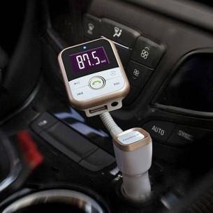 Chargeur Allume-Cigare 2 USB + Transmetteur FM + Lecteur MicroSD pour Smartphones & Tablettes